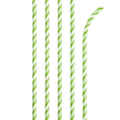 24ct Fresh Lime and White Striped Paper Straws