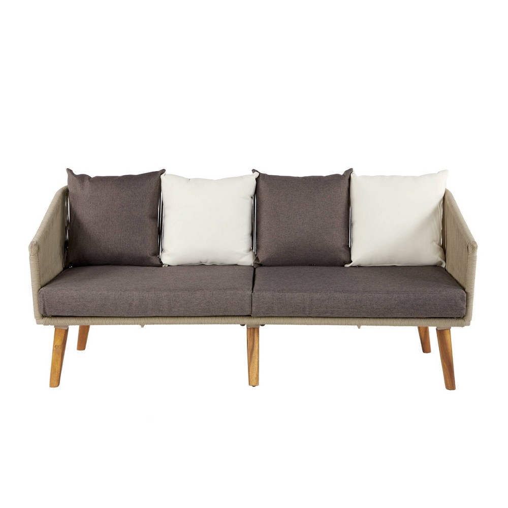 Image of Modern Outdoor Couch with Wood Legs - Gray - Olivia & May