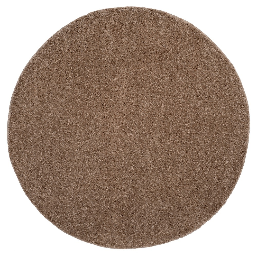 Taupe (Brown) Solid Loomed Round Area Rug - (6'7 Round) - Safavieh