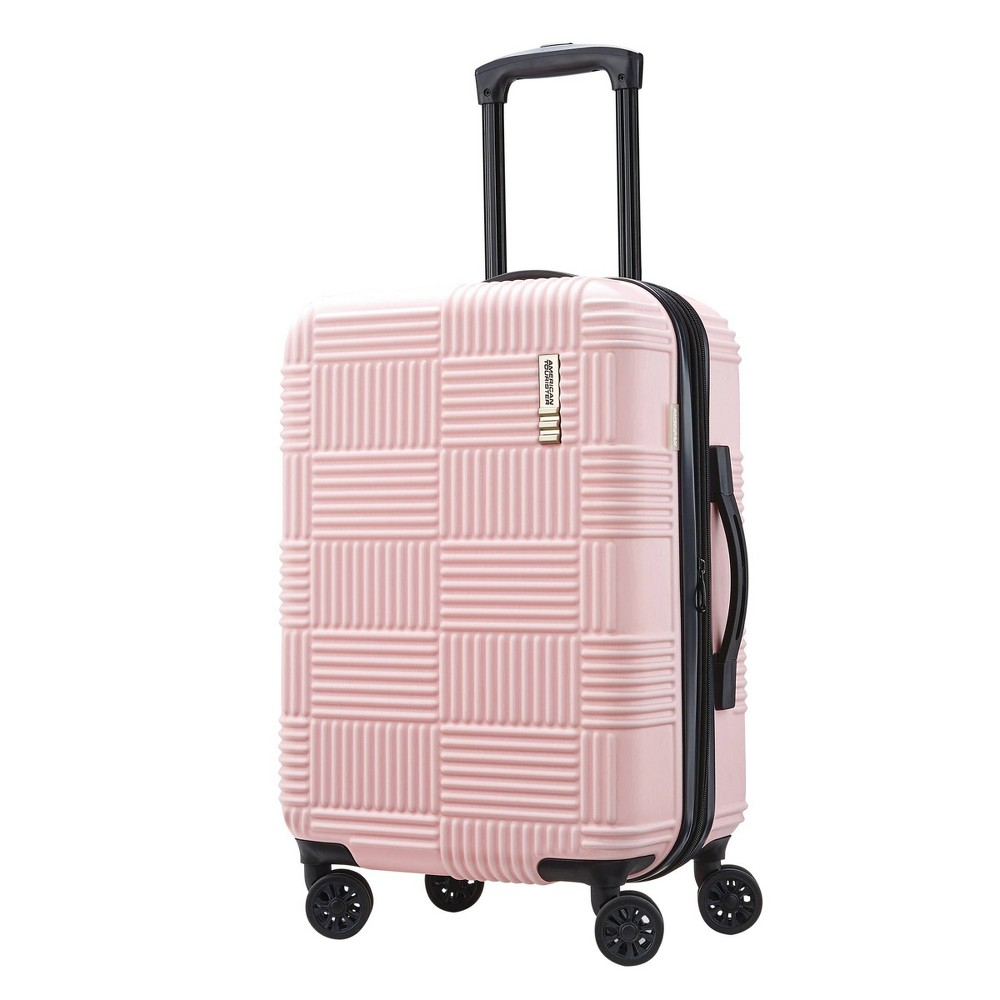 "Image of ""American Tourister 20"""" Checkered Carry On Hardside Suitcase - Pink"""