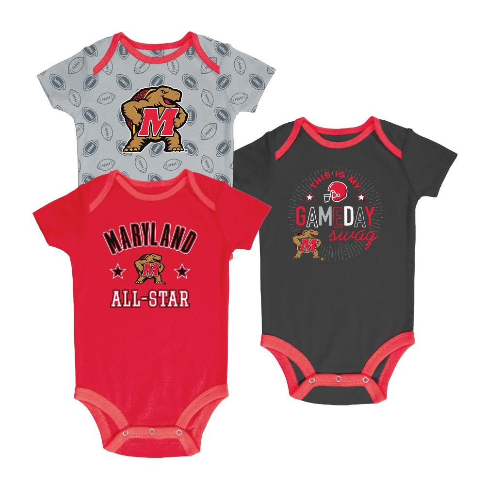 Maryland Terrapins Baby Boy Short Sleeve 3pk Bodysuit - 3-6M, Multicolored