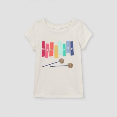 Toddler Girls' Glitter Rainbow Xylophone Short Sleeve T-Shirt - Cat & Jack™ Cream
