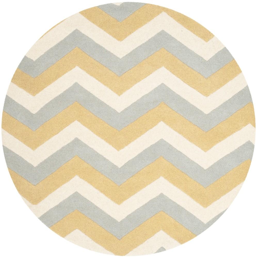 7' Tufted Chevron Round Area Rug Gray - Safavieh, Grey/Gold