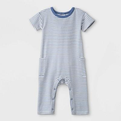 Grayson Mini Baby Boys' Striped Short Sleeve Romper - White 3M