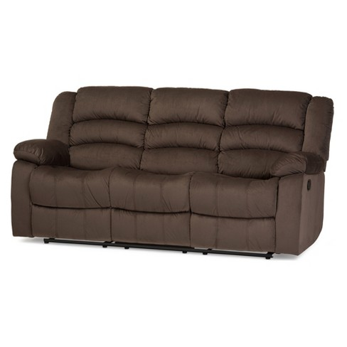 Hollace Modern and Contemporary Microsuede 3 - Seater Recliner - Taupe -  Baxton Studio