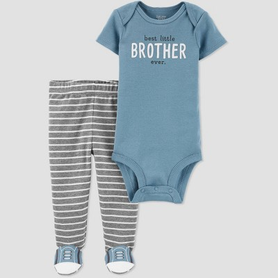 Baby Boys' Family Love 2pc 'Best Little Brother Ever' Top & Bottom Set - Just One You® made by carter's Blue/Gray Newborn