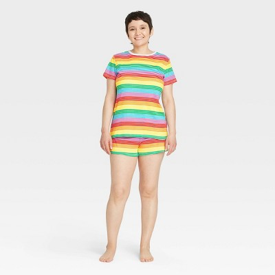 Women's Striped Matching Family Pajama Set - Rainbow