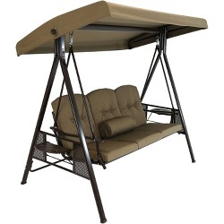 3-Person Steel Frame Canopy Patio Swing with Side Tables, Cushions and Pillow - Beige - Sunnydaze Decor