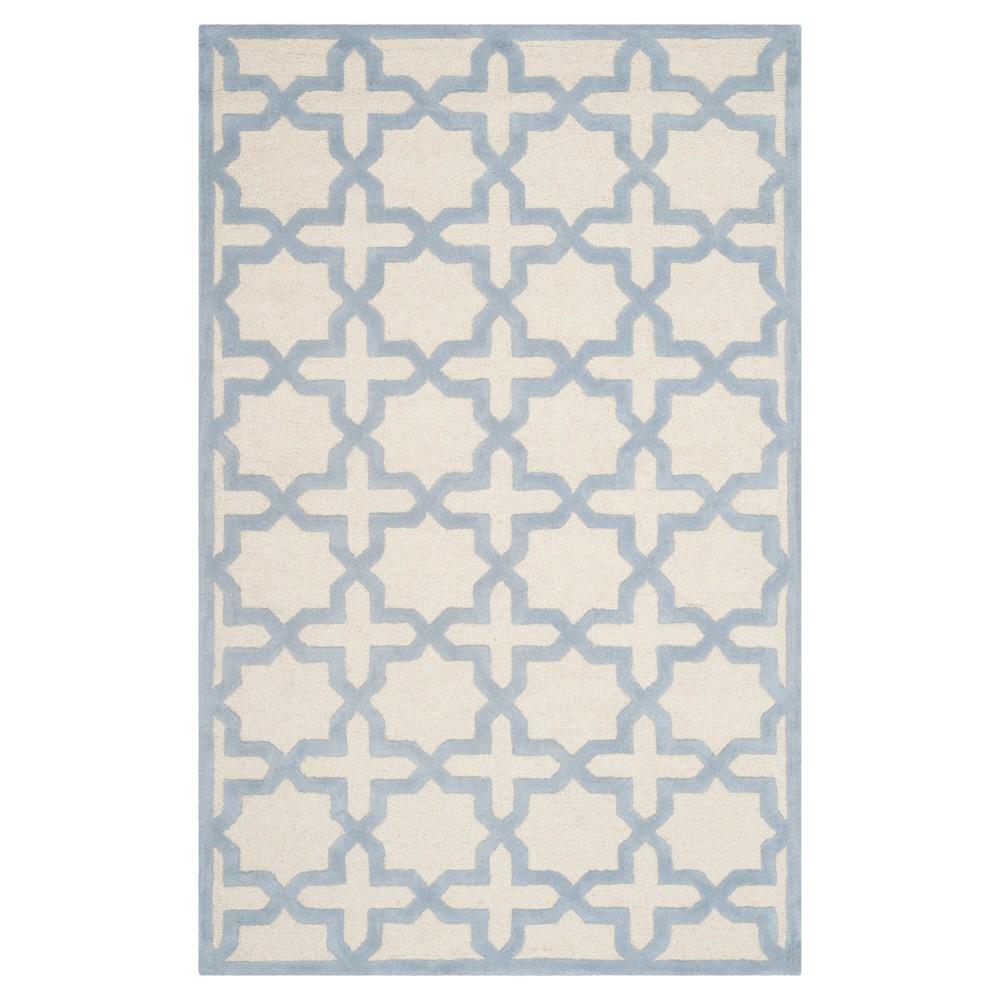 Marnie Texture Wool Rug - Ivory / Light Blue (5' X 8') - Safavieh, Ivory/Light Blue