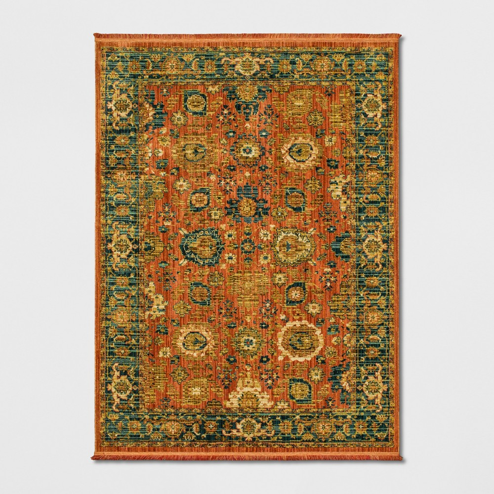Persian with Fringe Border Woven Area Rug Orange
