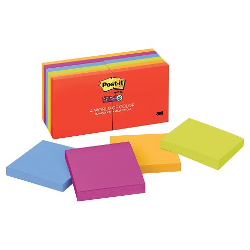 Post - it Super Sticky Note Pads in Electric Glow Colors 3 x 3 - 90 Sheet Pads Per Pack - image 1 of 1