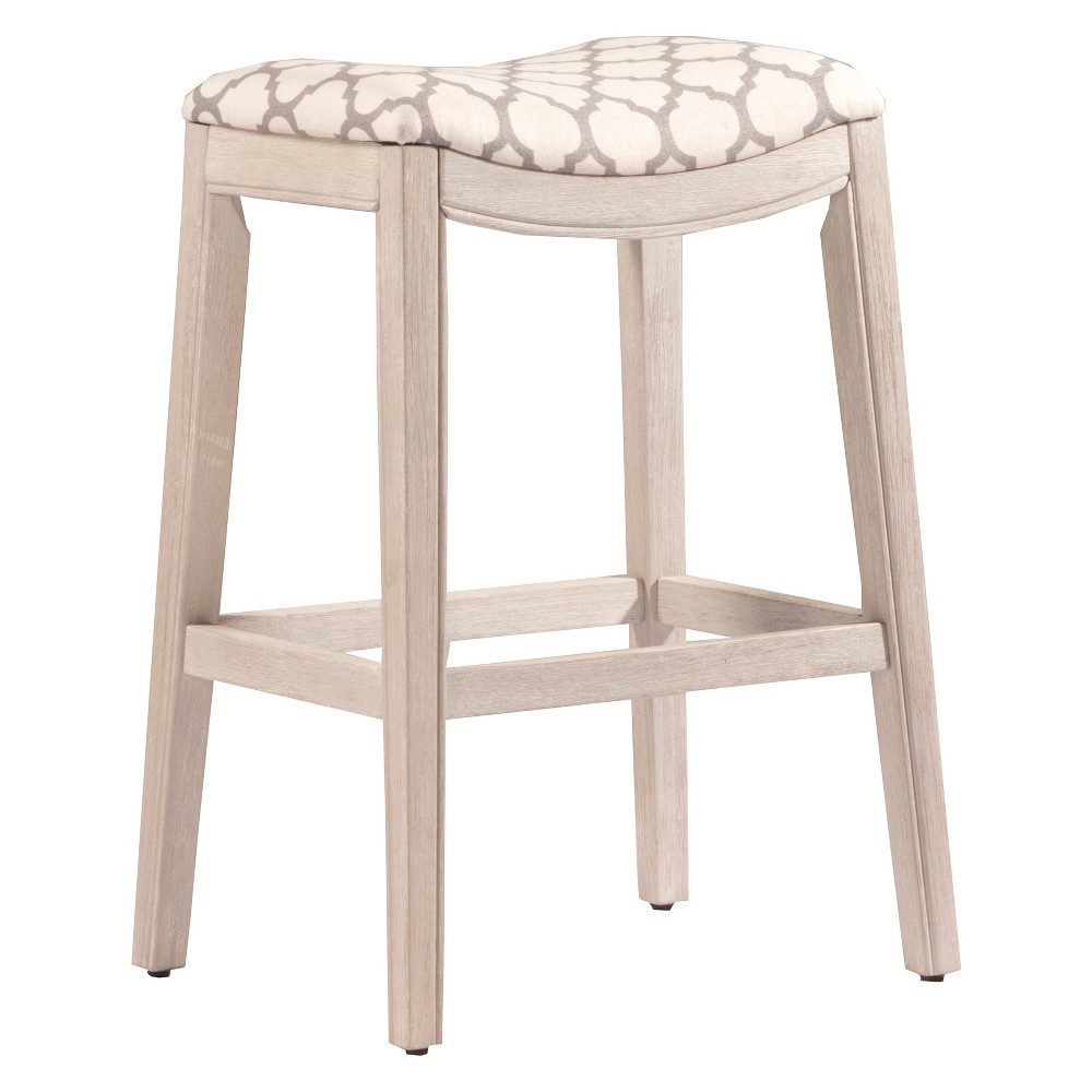 29.75 Sorella Backless NonSwivel Counter Stool White (Wirebrush)/Trellis Ash - Hillsdale Furniture