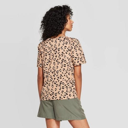 188c54c35789 Women's Leopard Print Short Sleeve Crewneck T-Shirt - A New Day™ Brown