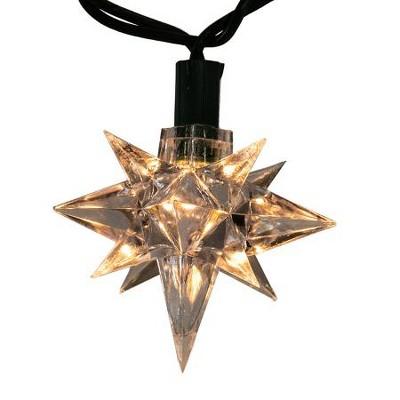 Kurt S. Adler 10-Count Clear 13-Point Star Christmas Light Set, 10ft Green Wire