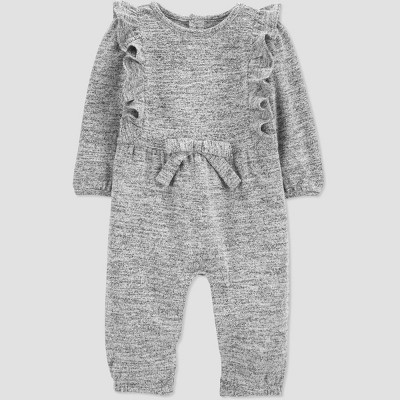 Baby Girls' Ruffle Rompers - Just One You® made by carter's Gray Newborn