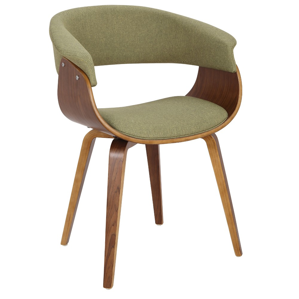 Vintage Mod Mid Century Modern Dining/Accent Chair Walnut/Green - Lumisource