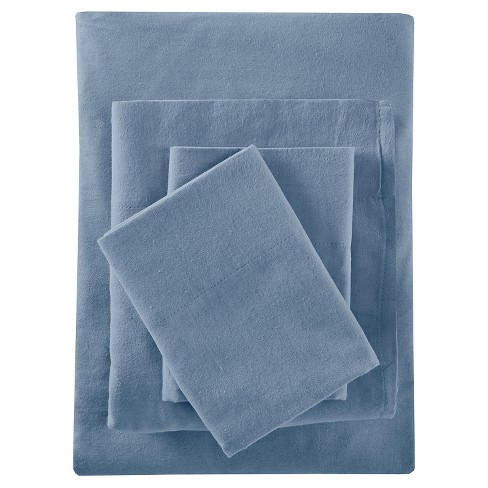 Solid Flannel Sheet Set (California King) Blue - image 1 of 3