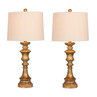 2pk Candlestick Antiqued Leaf Resin Table Lamps Antique Gold  - Fangio Lighting