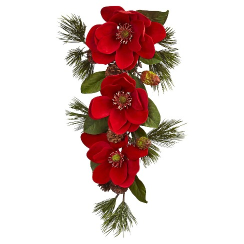 Holiday Red Magnolia and Pine Teardrop Wall Dcor - Red (26) - image 1 of 1