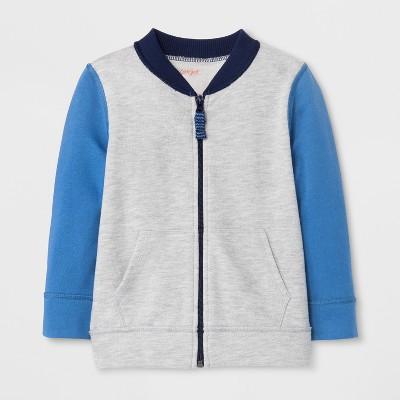 Toddler Boys' Adaptive Zip-Up Sweatshirt - Cat & Jack™ Heather Gray/Blue 3T