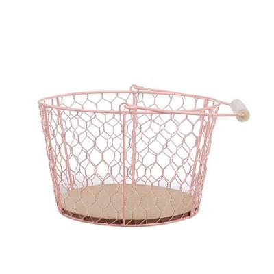 Metal Wire Decorative Basket with Wood Bottom Pink - Spritz™