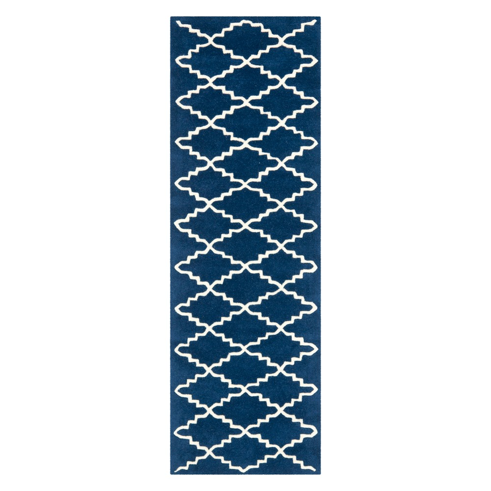 23X9 Quatrefoil Design Tufted Runner Dark Blue/Ivory - Safavieh Compare