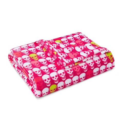 Skull Party Throw Blanket Pink - Betseyville - image 1 of 4