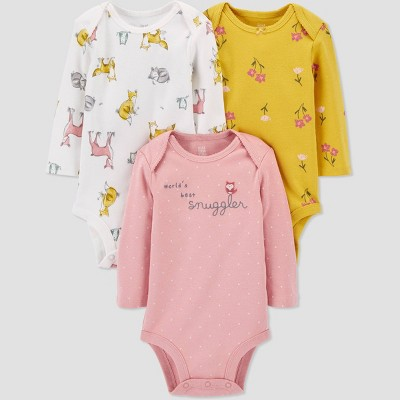 Baby Girls' 3pk Woodland Long Sleeve Bodysuit - Just One You® made by carter's Pink/White/Gold 6M