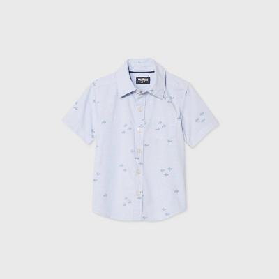 OshKosh B'gosh Toddler Boys' Short Sleeve Plaid Woven Button-Down Shirt - Blue 18M