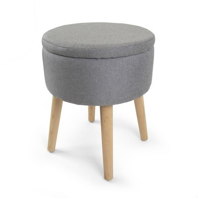 Round Storage Ottoman with Reversible Tray Cover Gray - Humble Crew