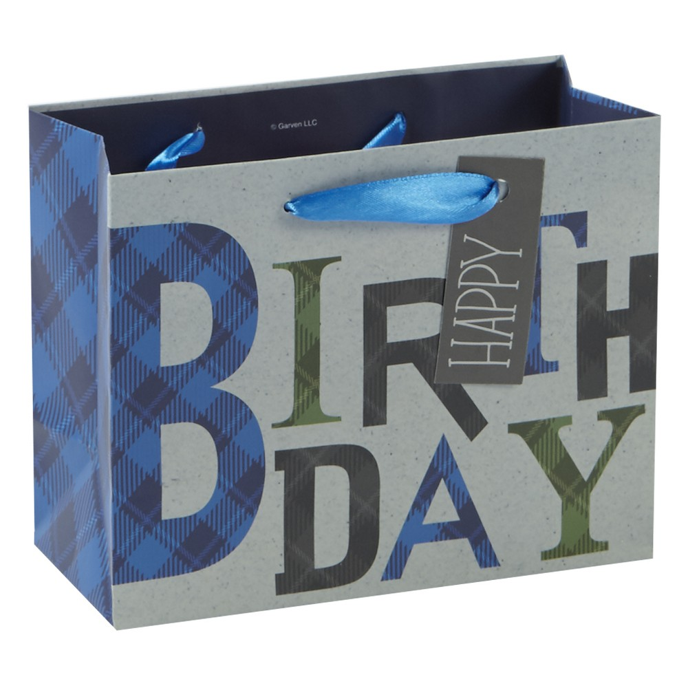 Image of 'Birthday' Plaid Cub Gift Bag - Spritz, Multi-Colored