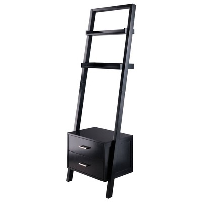 "69.36"" Bellamy Leaning Shelf with Storage Black - Winsome"
