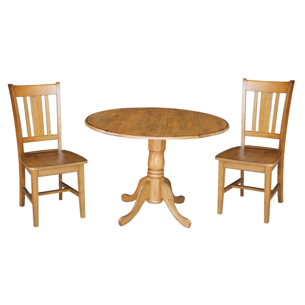 42 Set of 3 Dual Drop Leaf Table with 2 San Remo Chairs Pecan - International Concepts, Brown