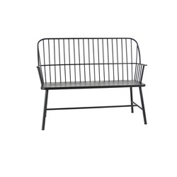 Traditional Outdoor Patio Bench - Black - Olivia & May