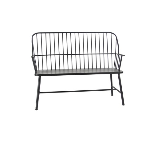 Traditional Outdoor Patio Bench - Black - Olivia & May - image 1 of 4