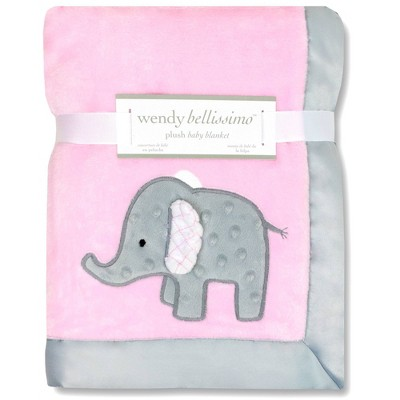 Wendy Bellissimo Elephant 2 Ply Plush Blanket - Pink