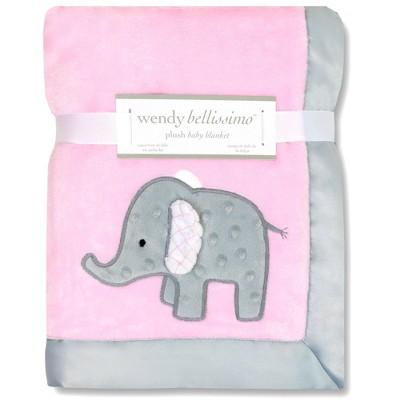 Wendy Bellissimo Elephant 2 Ply Plush Blanket - Pink