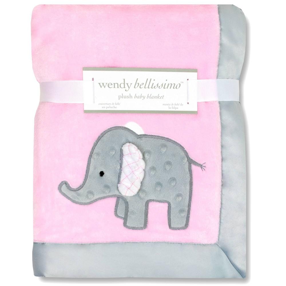 Image of Wendy Bellissimo Elephant 2 Ply Plush Blanket - Pink