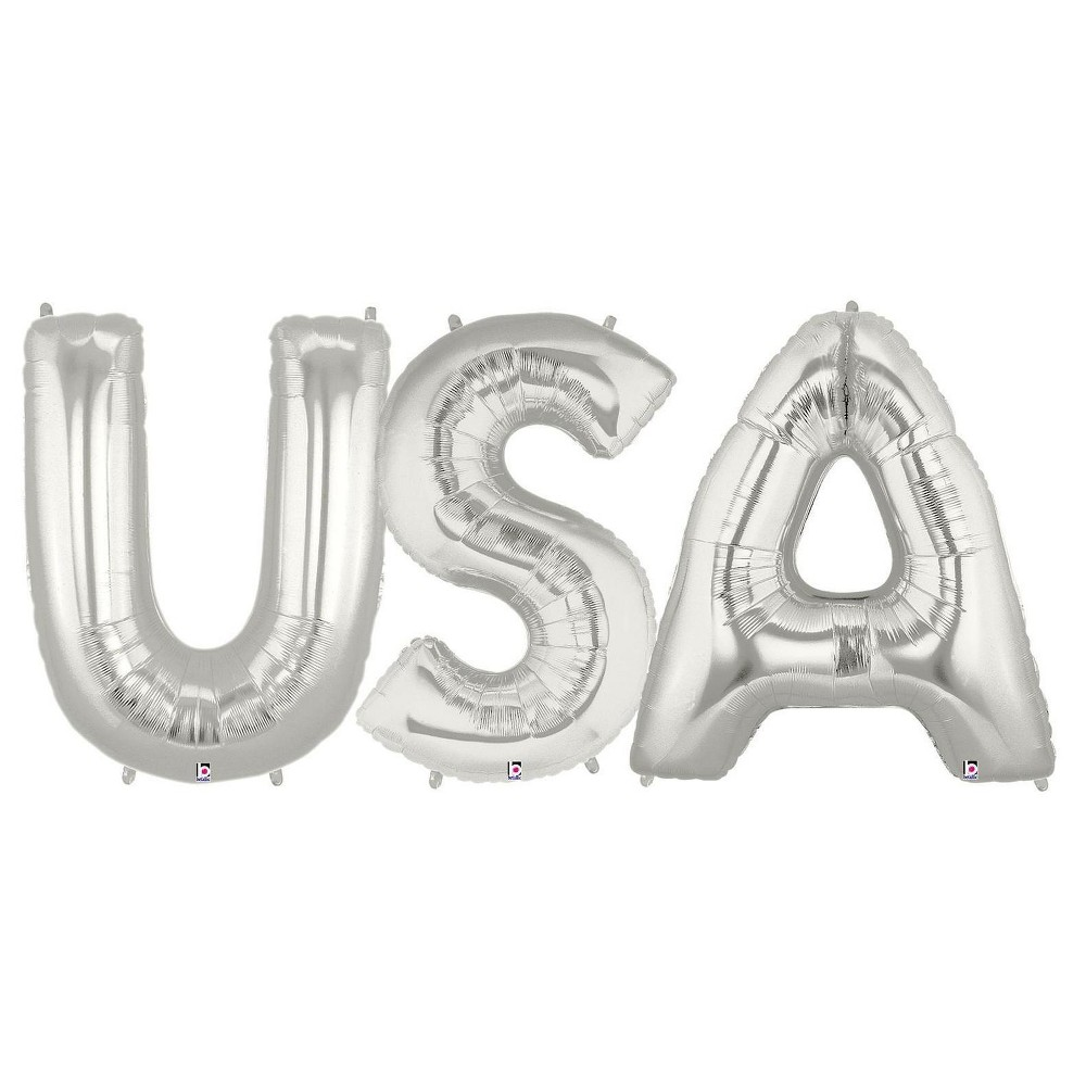 Jumbo Silver Foil Balloons - USA