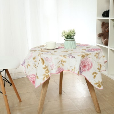 "35""x35"" Square Vinyl Water Oil Resistant Printed Tablecloths Pink Purple Flower - PiccoCasa"