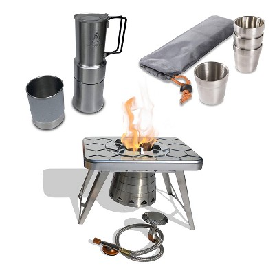 nCamp Basic 4 Pack 6 Oz Stainless Steel Stackable Cups Camping Set Bundle with Outdoor Camping Stove, Gas Adapter Hose and Espresso Style Coffee Maker