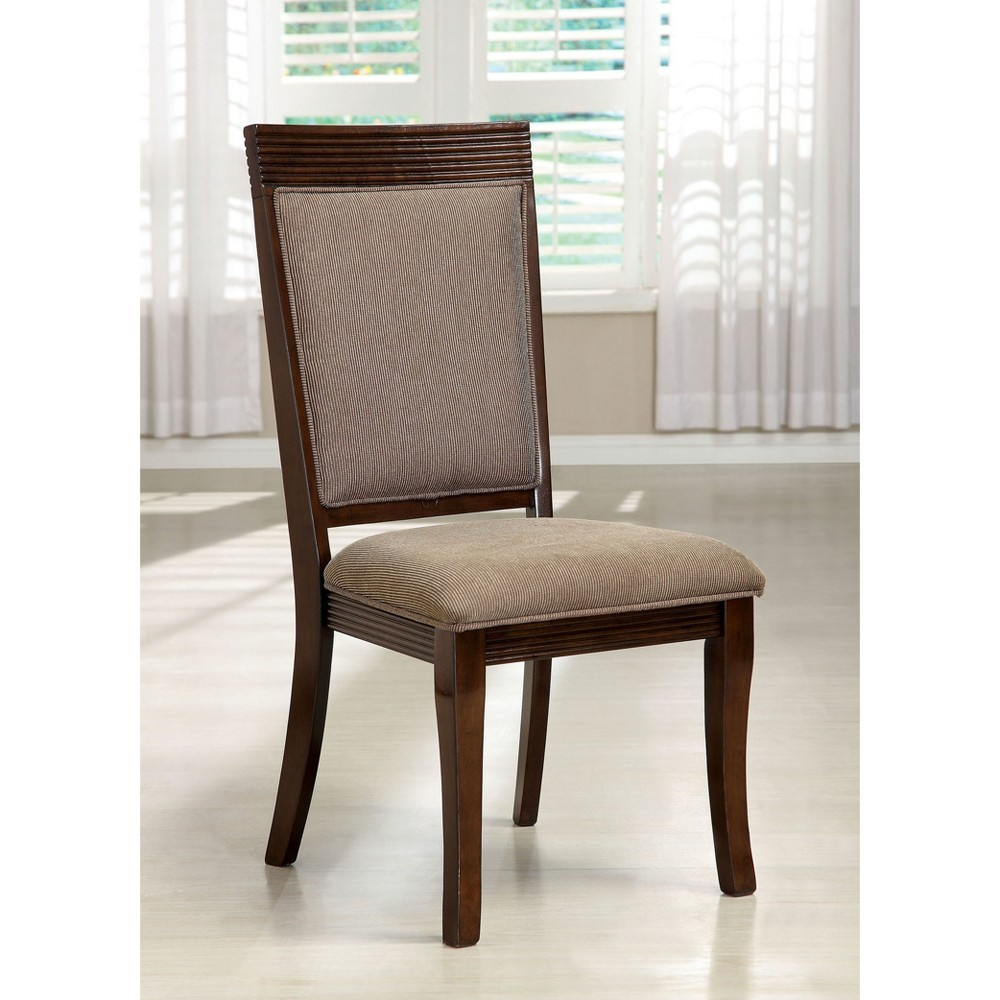 Sun & Pine Fabric Padded Lined Edges Side Chair Wood/Walnut (Set of 2)