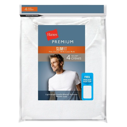 Hanes® Premium Men's 4pk Slim Fit Crew-Neck Tees - image 1 of 4