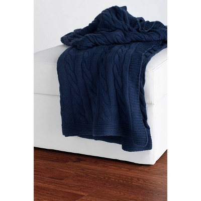"50""x60"" Cable Knit Throw Blanket Blue - Rizzy Home"