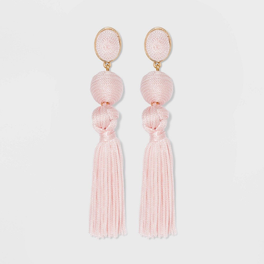 Image of SUGARFIX by BaubleBar Ball Drop Tassel Earrings - Blush, Women's, Size: Small