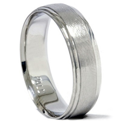Pompeii3 Mens 950 Palladium 6mm Brushed Comfort Fit Wedding Band