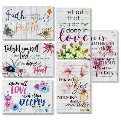 """60 Inspirational Cards with Envelopes, Bulk Bible Verse Quote Scripture Greeting Cards, Religious Motivational Encouragement Floral Design, 4x6"""""""