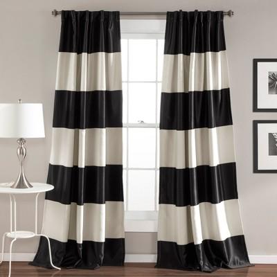 "84""x52"" Montego Striped Window Curtain Set Black - Lush Décor"