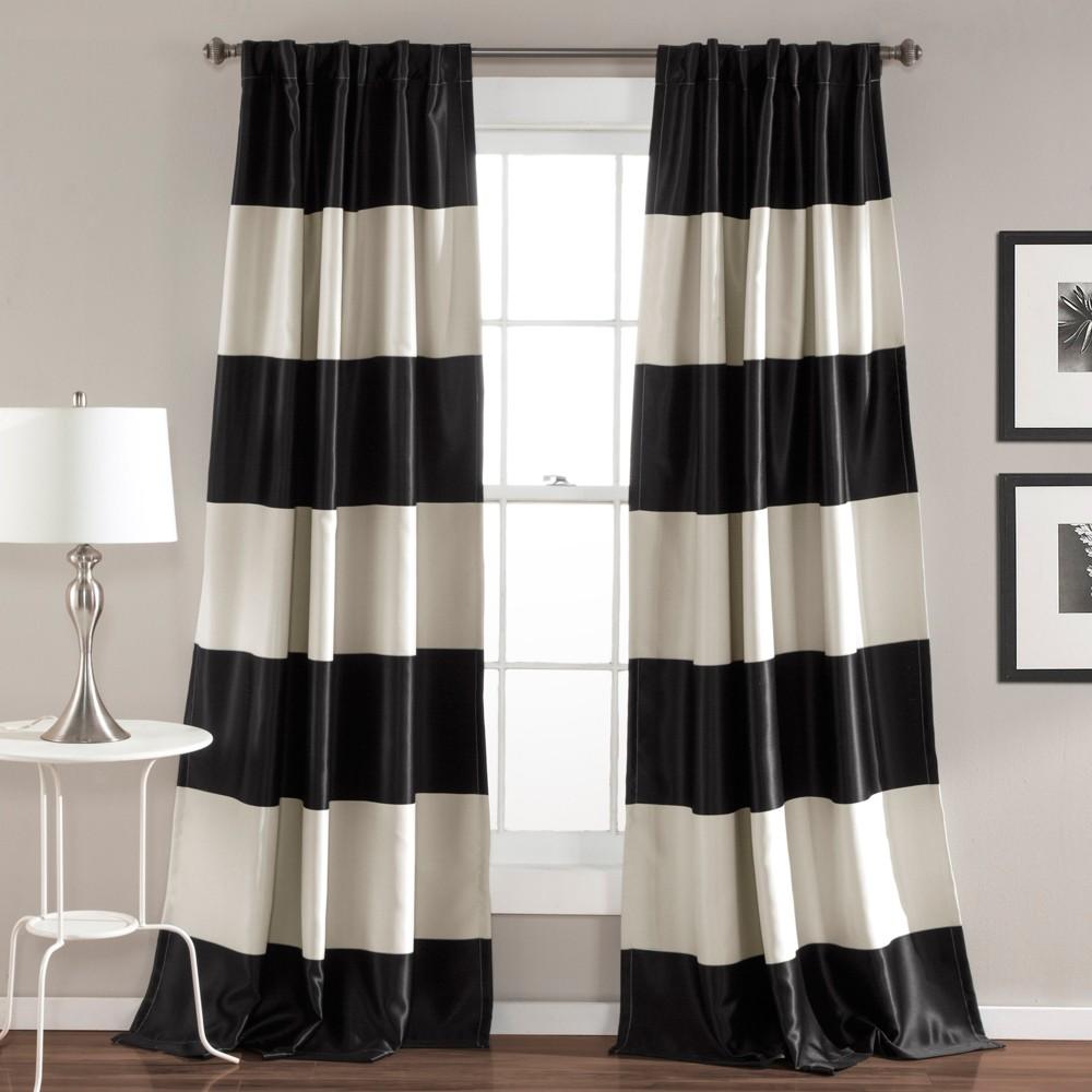 Montego Stripe Window Curtain Set Black (84