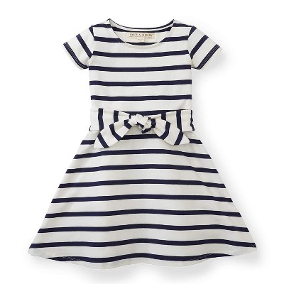 Hope & Henry Girls' White with Blue Stripes Knit Tie Dress